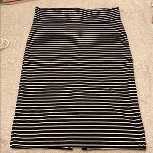 Black striped pencil skirt